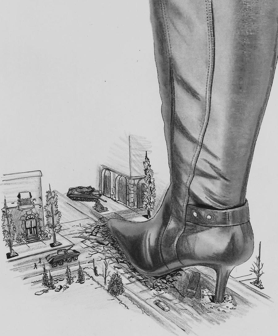 Giantess boot Goddess