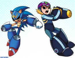 Sonic Man and M'egga Man by WaniRamirez