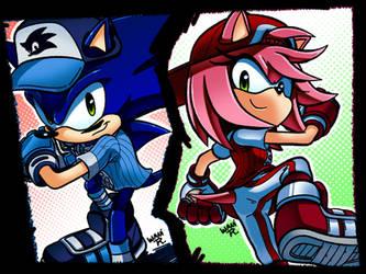 Slugger Sonic and All-Star Amy by WaniRamirez