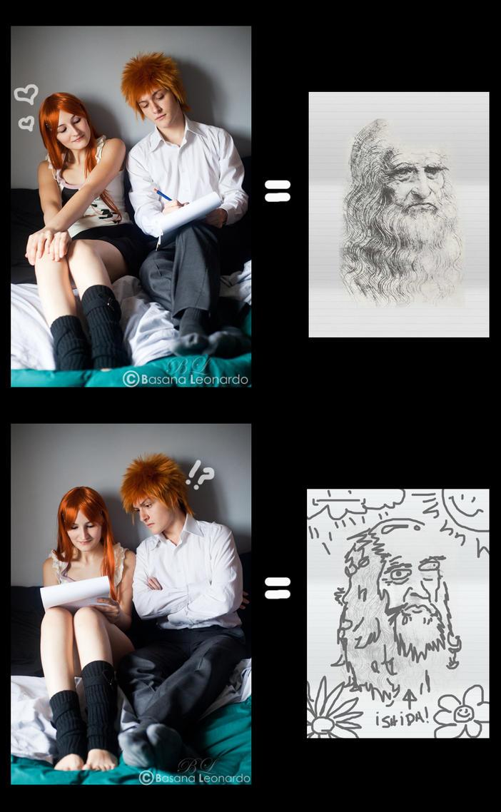 Ichigo x Orihime: Art lesson by Leox90