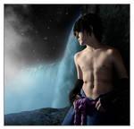 Sasuke behind the falls