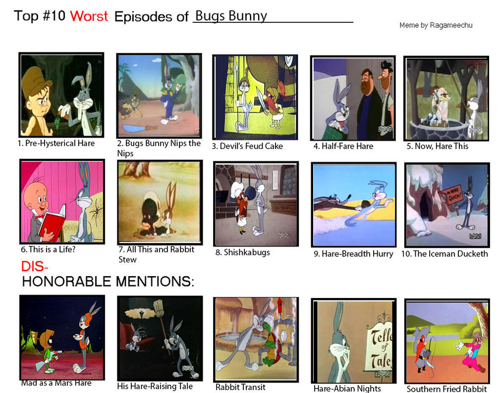 Top 10 Worst Episodes Of Bugs Bunny By