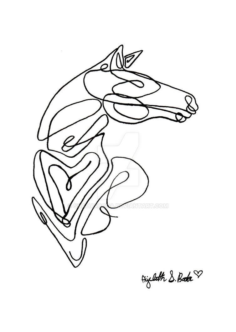 Line Drawing Horse Tattoo : Horse single line art by shaharboda on deviantart