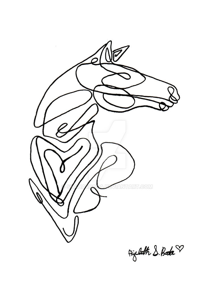 Single Line Artwork : Horse single line art by shaharboda on deviantart