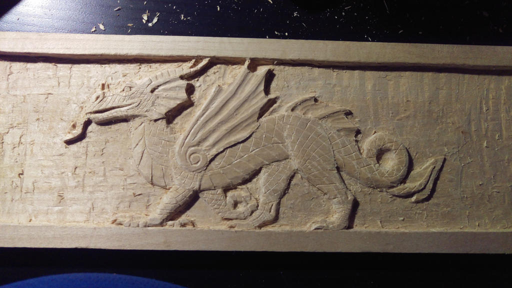 Relief carving dragon part more details by farorasf on