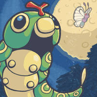 Caterpie and the Moon by Sharulia
