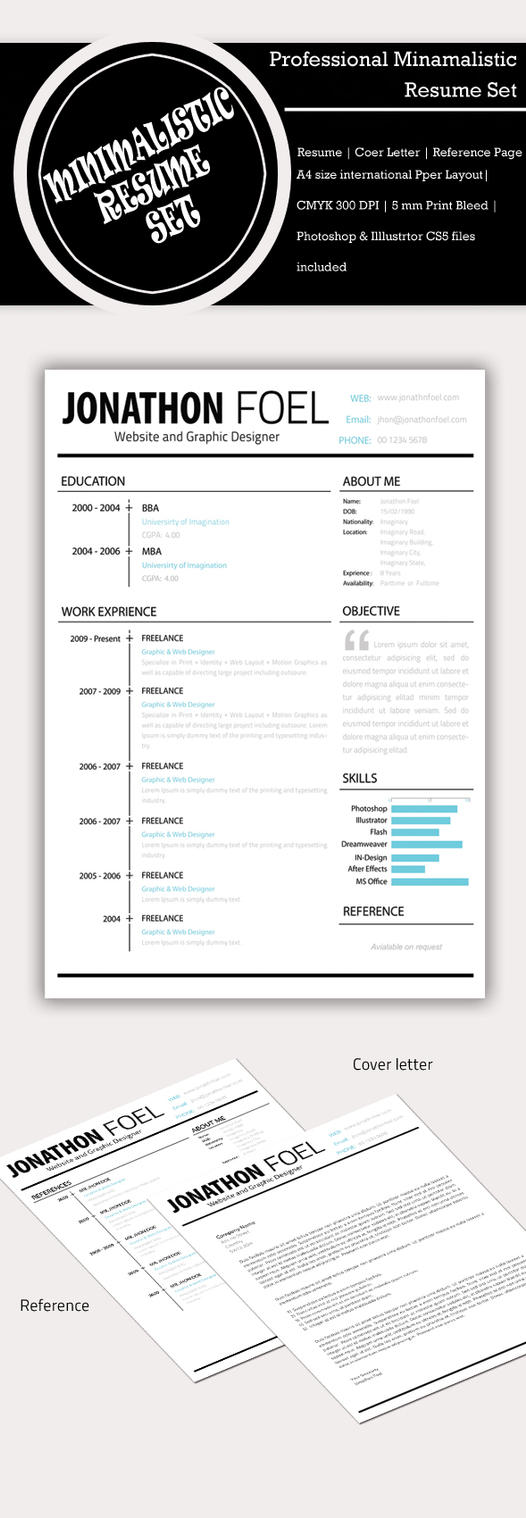 Minimalistic Resume template PSD by Simanto90 on DeviantArt