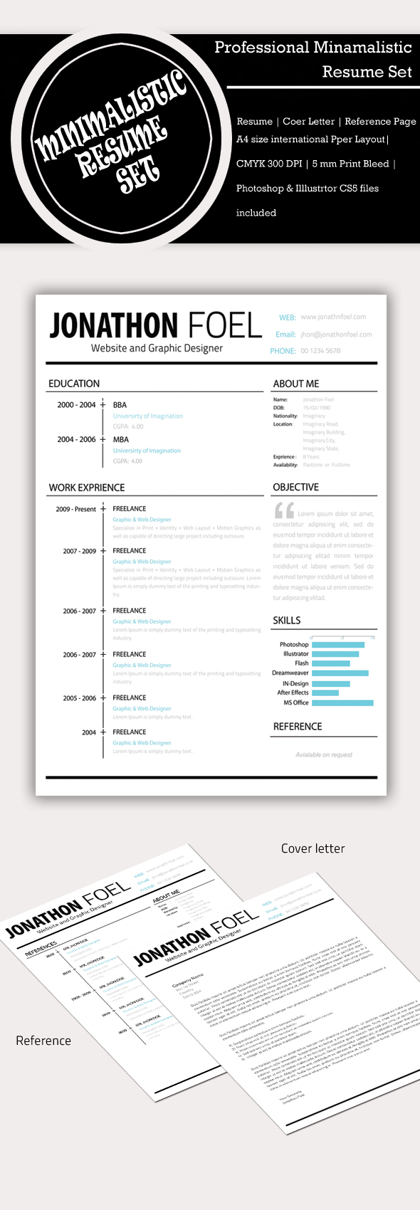 Minimalistic Resume template PSD by Simanto-90