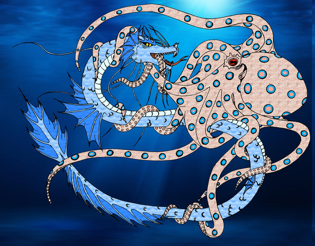 Sea dragon vs Giant octopus by Momtat31