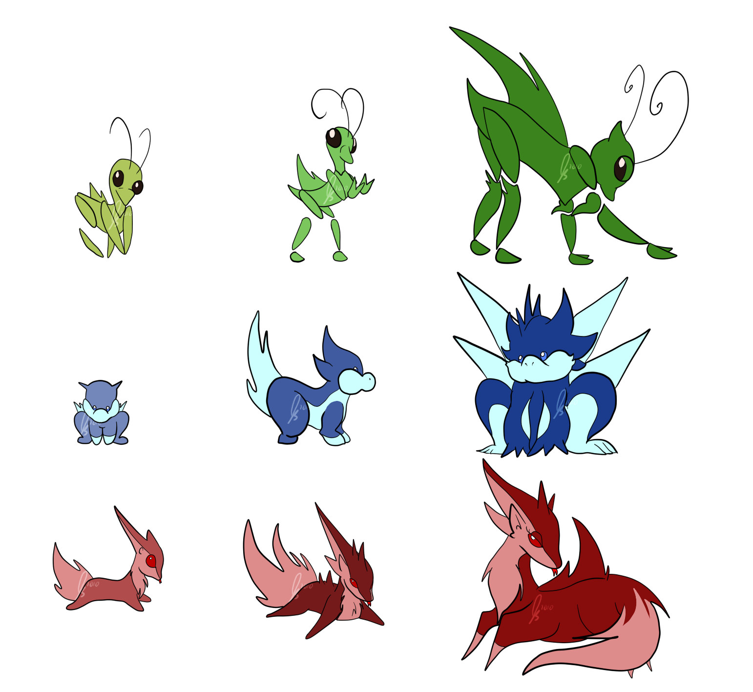 Fakemon Starter Set by jaclynonacloud on DeviantArt