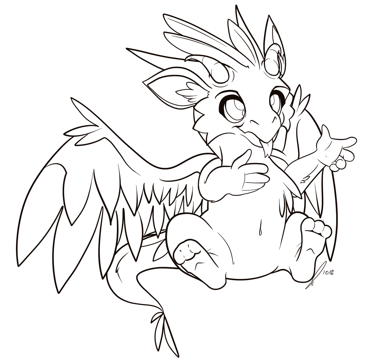 Dragon Lineart : Dragon whelp lineart by jaclynonacloud on deviantart