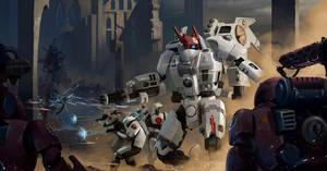Tau Empire vs Adeptus Mechanicus, fan art