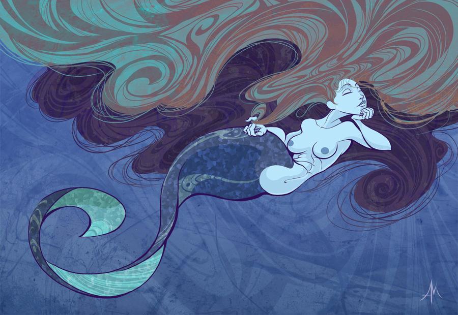 Long Haired Mermaid by YopparattaNoSaru