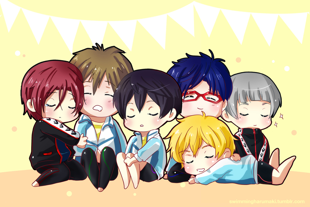 Free! Sleeping chibis by andys