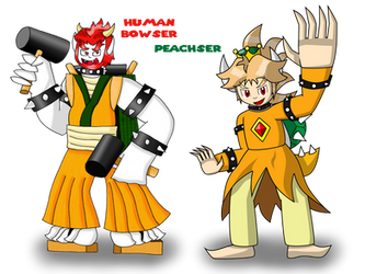 Humans Bowser by zigaudrey