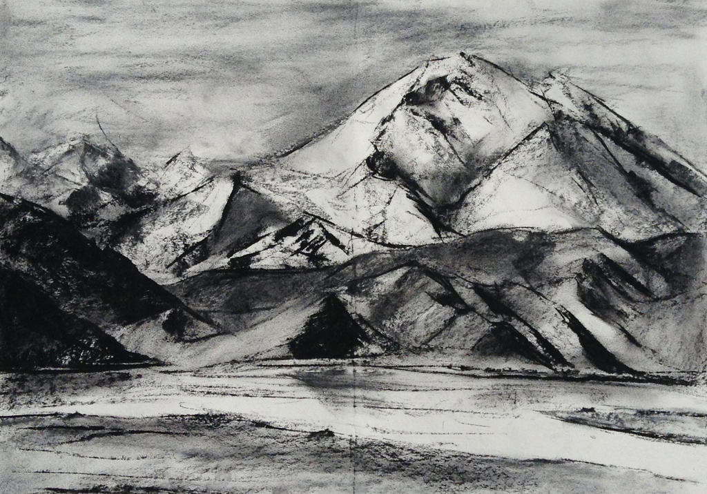 Karakol, Xinjiang China in Charcoal by andrea22222