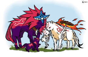 Okami's happy family by Xissorhands