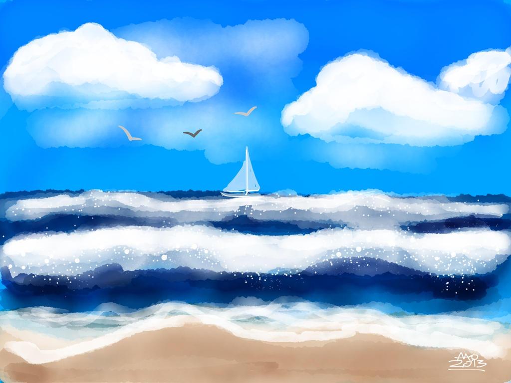 Sand, Surf and Sky by digitalchet