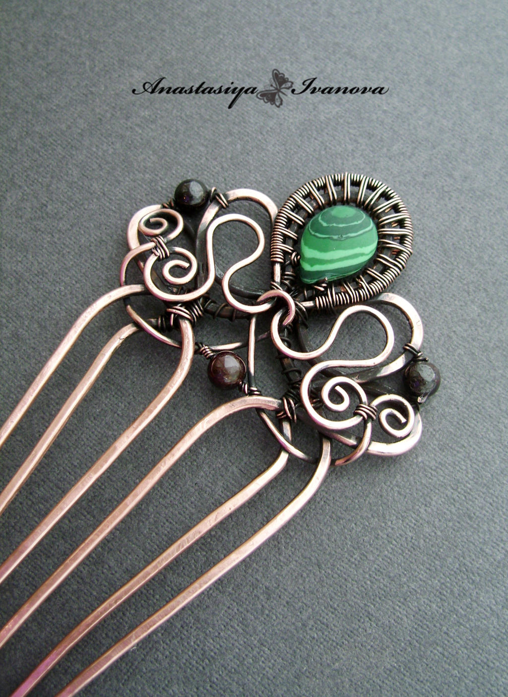 Comb with malachite by nastya-iv83