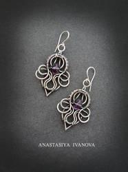 earrings with amethyst by nastya-iv83