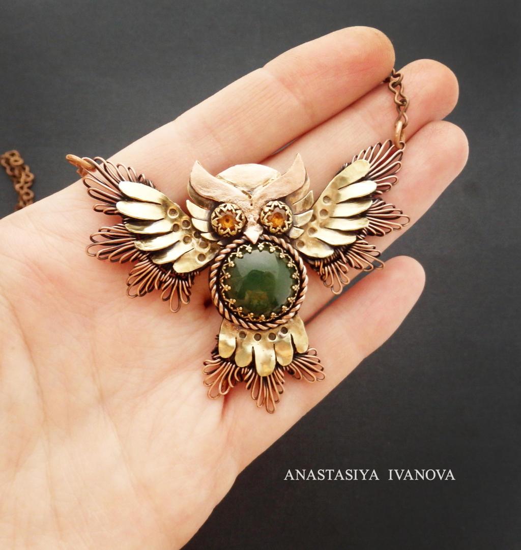 owl with jade and garnet by nastya-iv83