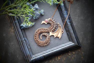 Copper dragon necklace