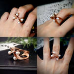 Copper ring with pearls