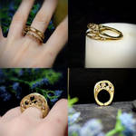 Brass ring with copper drops