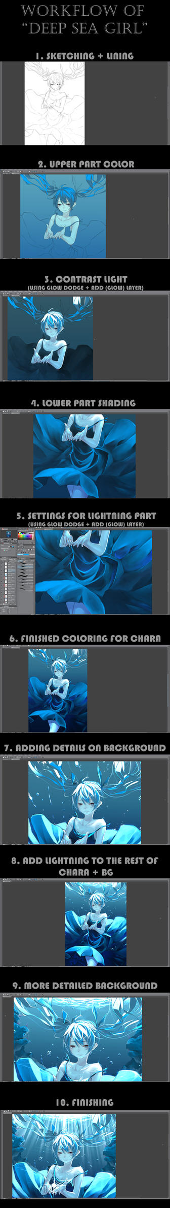 Workflow of Deep Sea Girl illustration by EizenHower