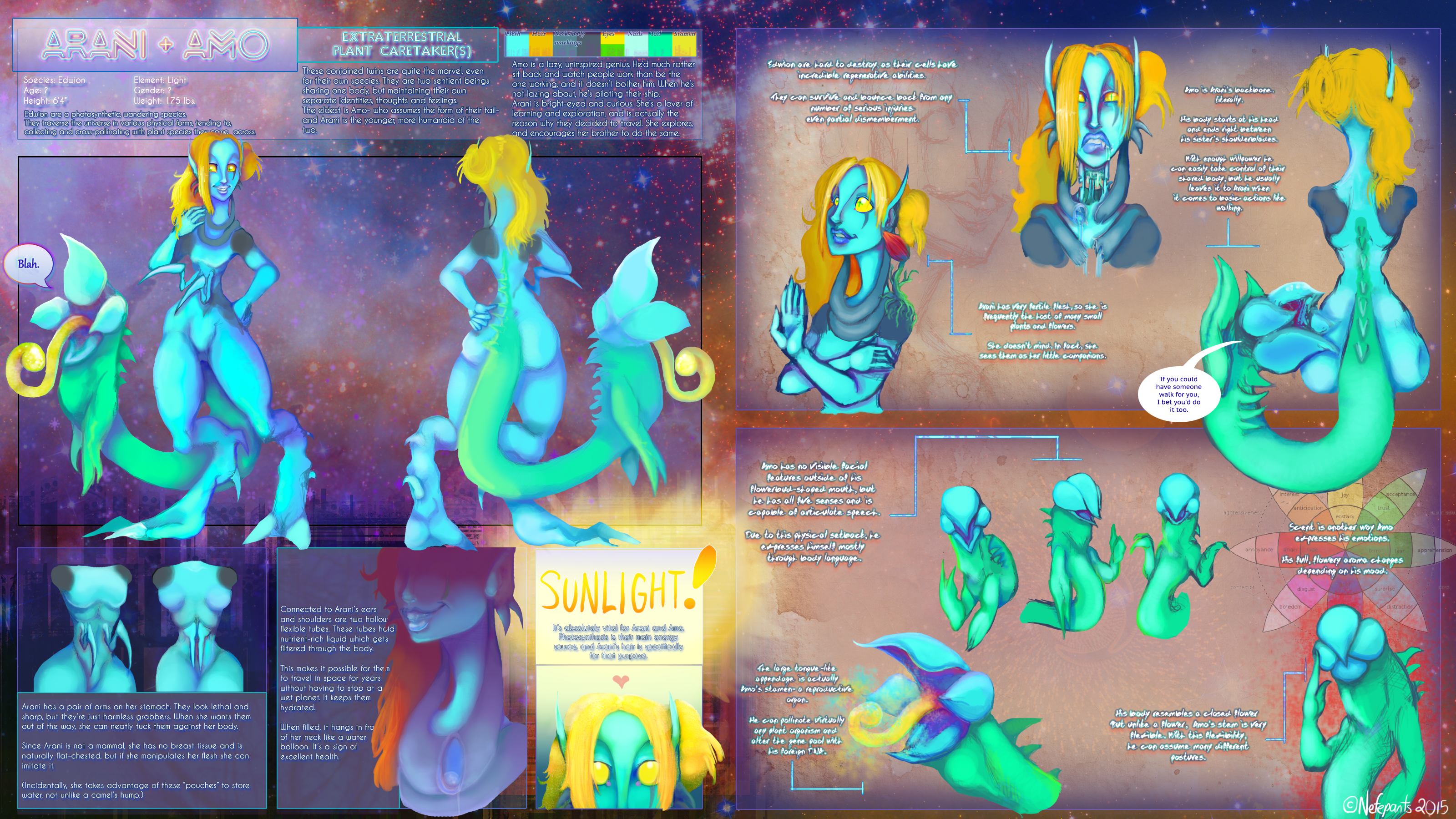 Say hello to the space twins (Ref sheet) by Nefepants