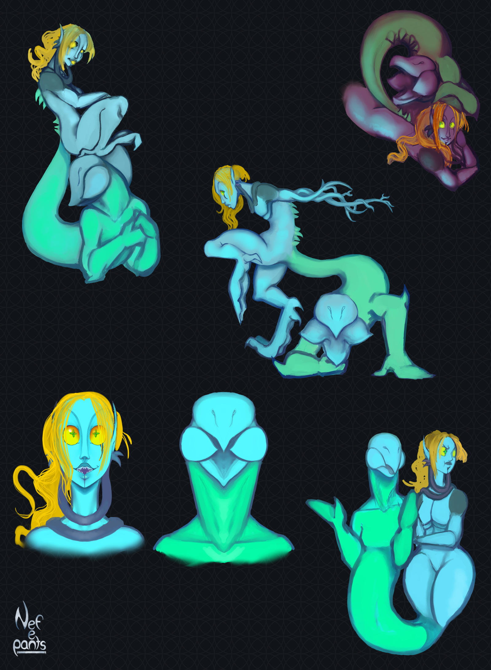 Space twin doodles 2 by Nefepants