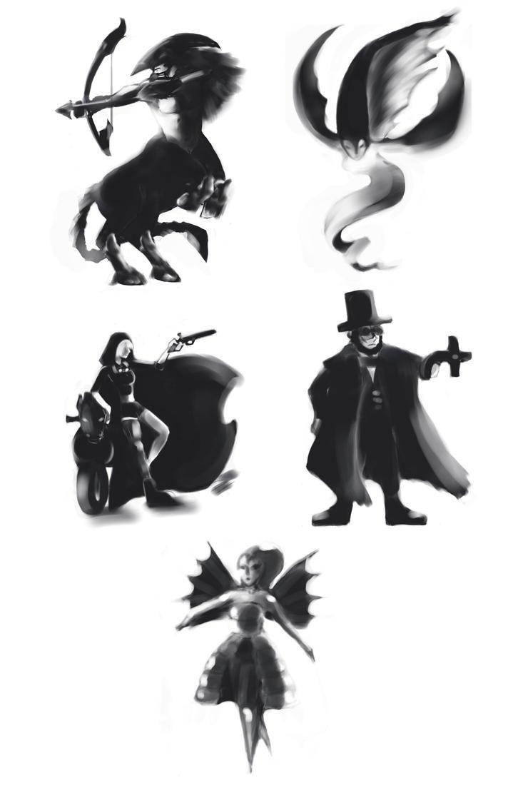 Character Design Thumbnails : Character design thumbnails by jade cascade on deviantart