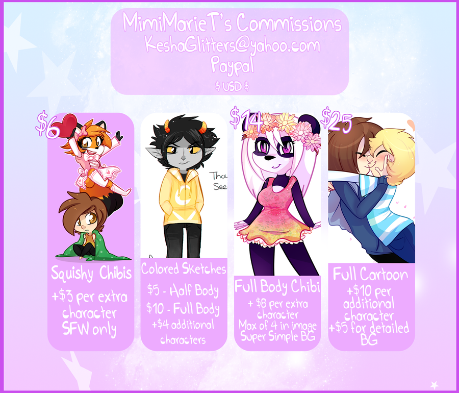 + Commissions Sheet + by MimiMarieT