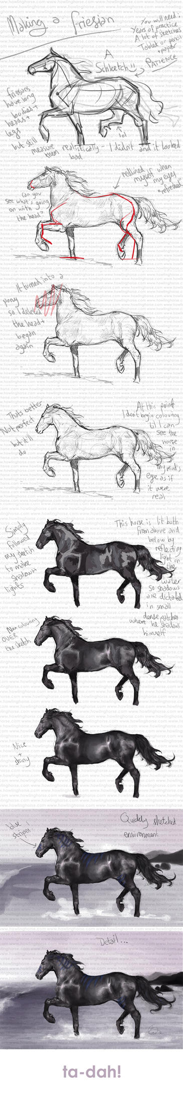 How To Make A Friesian By Howlinghorse Drawing A Horse Isn't Easy But  Following