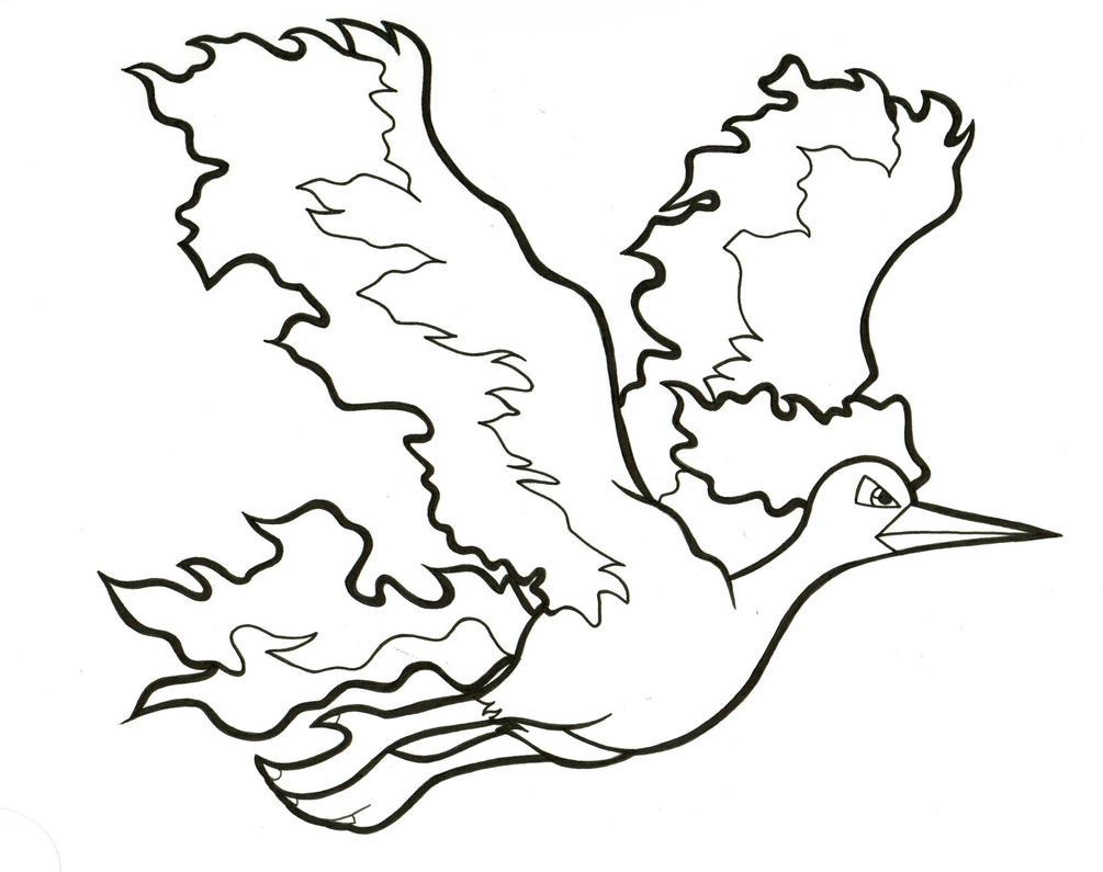 Moltres Lineart #146 by ArticWolfSpirit on DeviantArt
