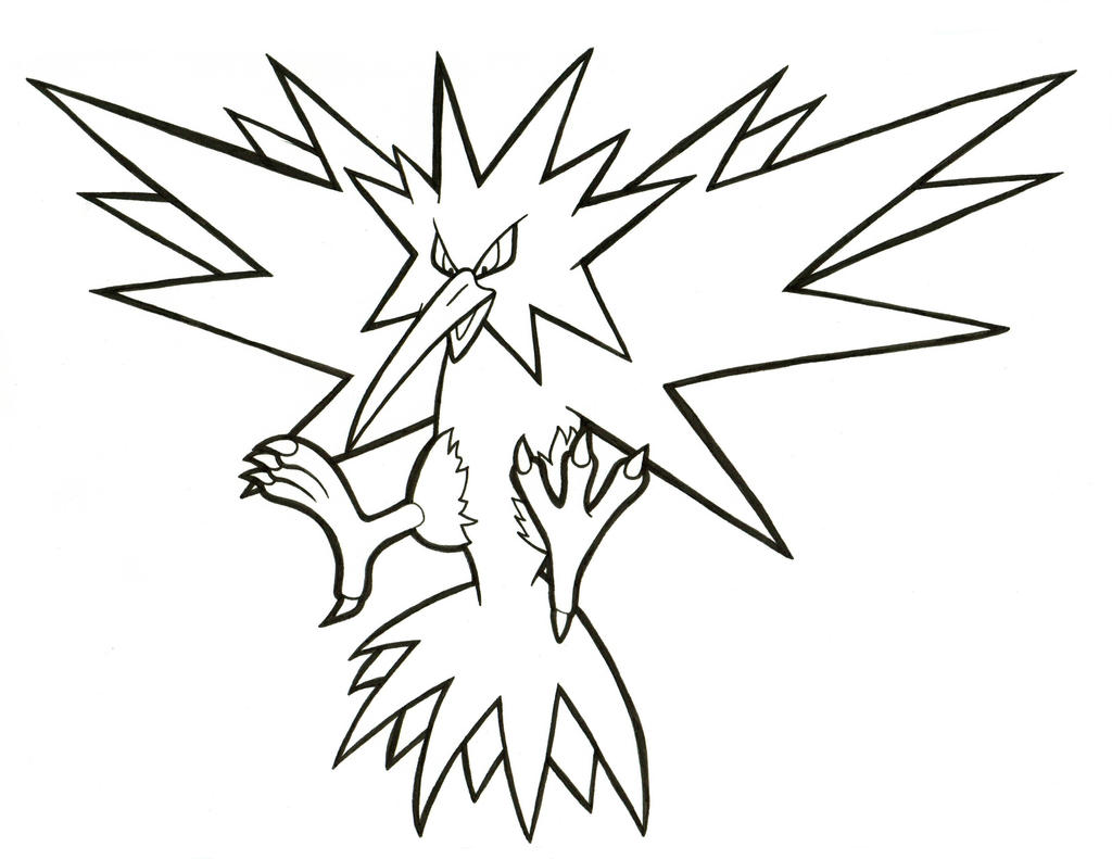 Zapdos lineart 145 by articwolfspirit on deviantart for Zapdos pokemon coloring pages