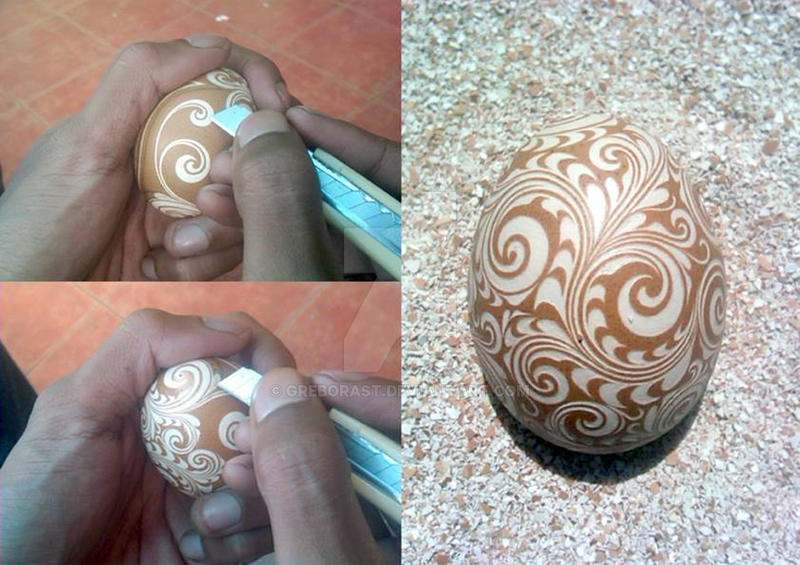 Hand Carved Chicken Egg 2014 ^_^ by greborast