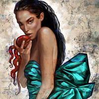 Girl with octopus by Olga-Tereshenko