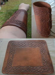 Leather Bracer Finished by MyrddinDerwydd