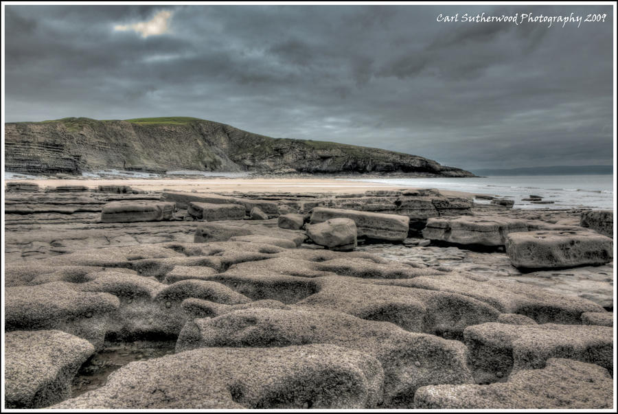 HDR A Stormy Bad Wolf Bay by The-Rover