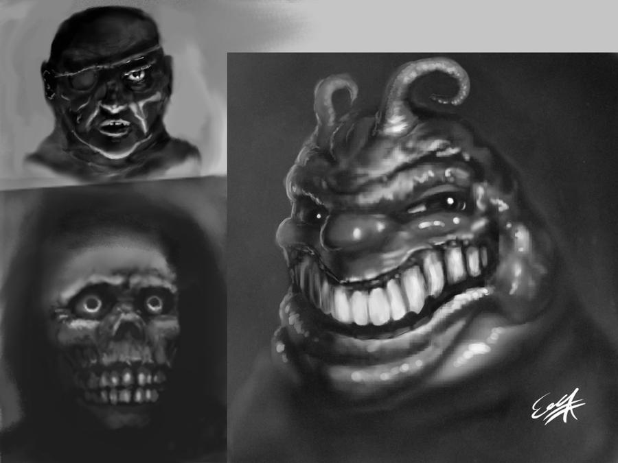 monster face sketches by EricDaNerd