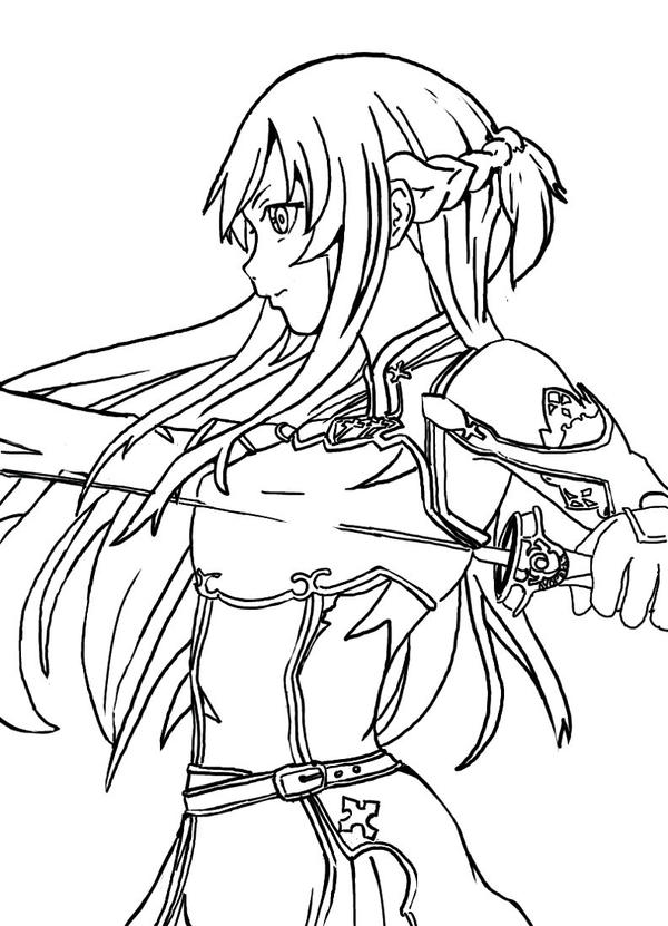 anime girl with swords coloring pages | asuna- SAO Character v2 (no color) by Ayopela3 on DeviantArt