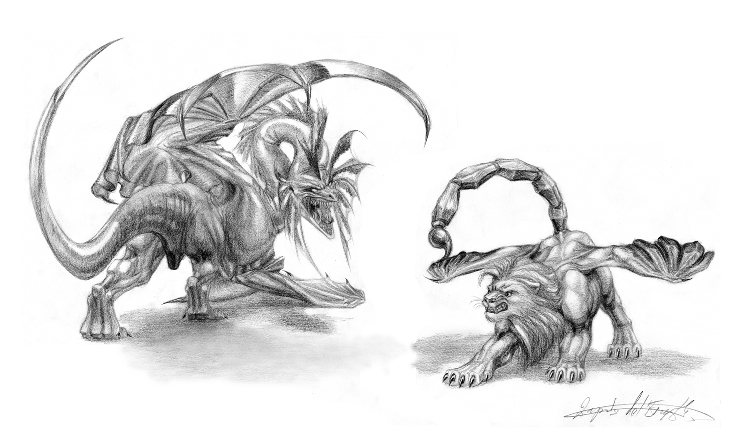 Manticore line drawing | GEEK -ing OUT! | Pinterest | Manticore ...
