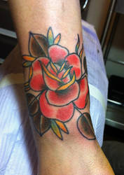 Traditional Rose Tattoo by tattoosbydanh