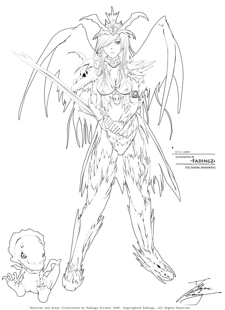 Line Drawing Knight : Dragon knight lineart by fadingz on deviantart