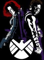 Black Widow and Hawkeye by Mad42Sam