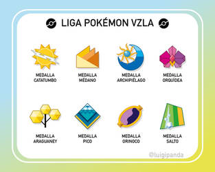 Pokemon Badges Venezuela by luigipanda