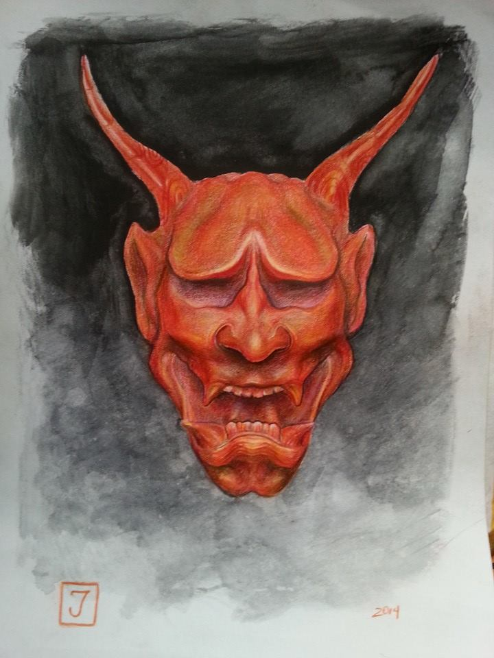 Hannya. Colored pencils. by JormanComegato