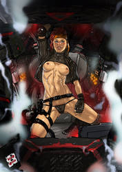 Battletech Natasha Kerensky Black Widow topless by Ganassa
