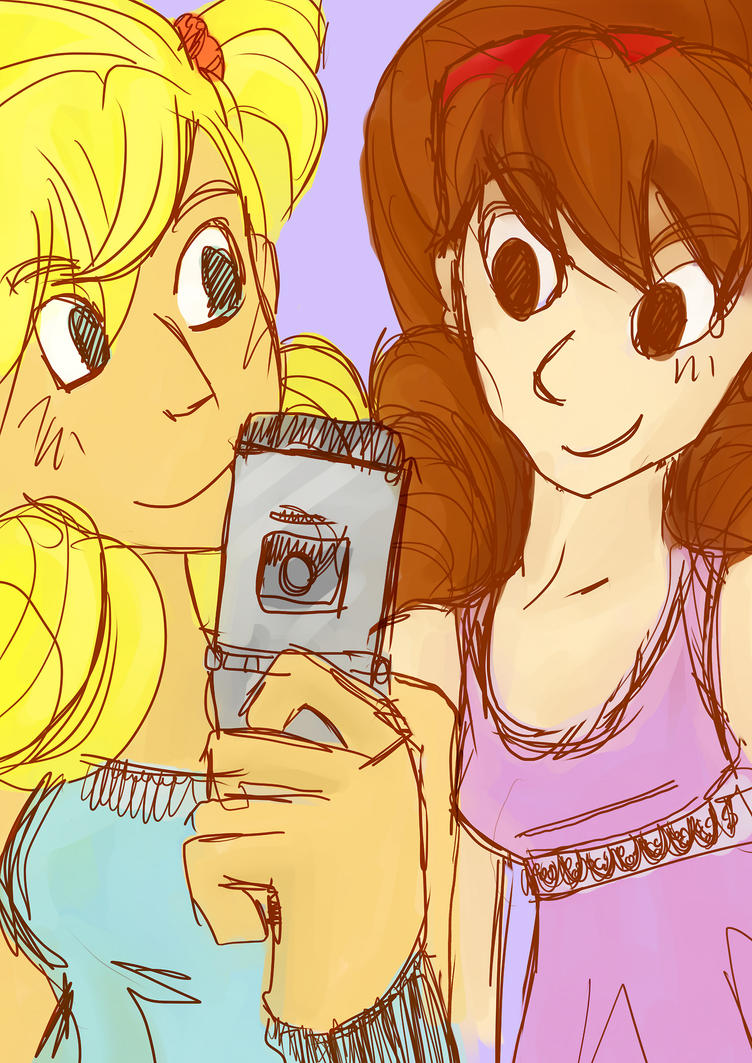 Skye And Raine With Cell Phone by VexNet